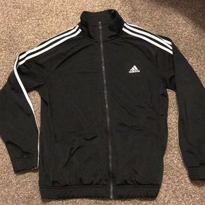 Adidas black zip up jacket with pockets